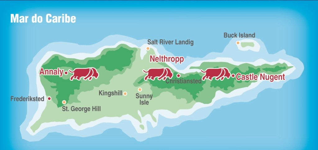 Mapa da Ilha de Saint Croix, onde o Senepol foi descoberto. (Foto: Livro Senepol, Feito para o Brasil, da ABCB-Senepol)